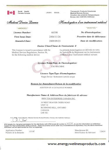 Chi Machine Health Canada Medical Certificate