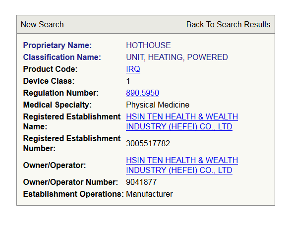 fda device listing for the hothouse